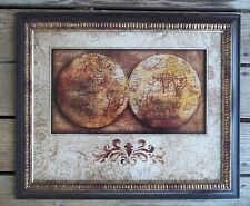 Double Hemisphere Globe Atlas Print Matted Framed Old World Sepia Tones HDC LLC