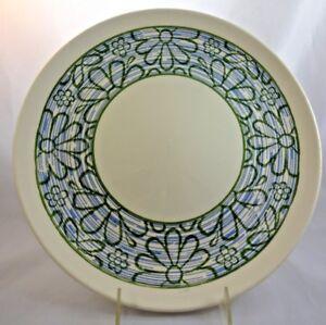 Vintage 1970s Round Platter 12 Inch Blue Green Daisies Flowers Woodstock Era