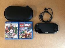 Sony PlayStation Vita Crystal Black Handheld System Case And Games