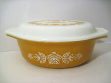 # 2* Vtg Pyrex GOLD BUTTERFLY 1 Covered 043 HOTDISH Casserole Dish 1 1/2qt w/lid