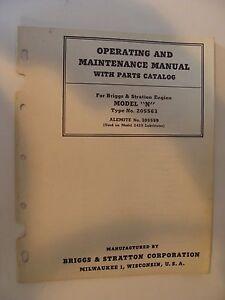 Briggs & Stratton Operating Maintenance Manual Parts Catalog Model N Engine 1945