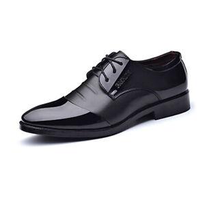 Men's Formal Business Shoes Cap Toe Faux Leather Splice Upper Lace Up Oxford