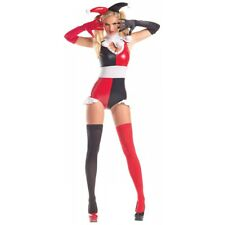 Harlequin Costume Adult Sexy Jester Harley Quinn Halloween Fancy Dress