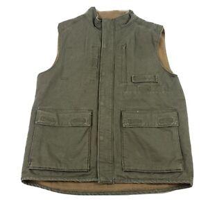 RedHead Classic Fishing Vest Mens M Multiple Pockets Zip & Snap fleece lined
