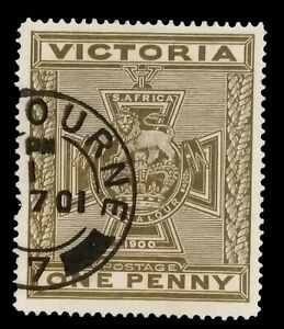 SG374 - 1900 Victoria Olive-brown 1d Victoria Cross Stamp - used CV $170 - 418a