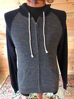 J Crew mens Heathered Full Zip Charcoal Navy Hoodie Sweater Jacket sz S Small