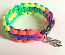 (Small) Autism Awareness Multicoloured Paracord Bracelet with Large Ribbon Charm