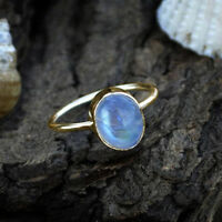 AAA Oval Cab Rainbow Moonstone Gemstone 14K Yellow Gold June Birthstone Ring