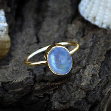 AAA Oval Cab Rainbow Moonstone Gemstone 14K Yellow Gold June Birthstone Ring
