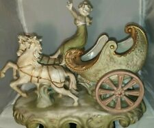 Vintage Collectable Japanese Bisque pottery, Lady On Chariot With 2 Horses....