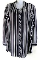 NEW LADIES WOMENS CHIFFON LONG SLEEVE BLOUSE SHIRT STRIPE PRINT PLUS SIZE 14-32