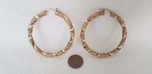 Beautiful Pair Of Very Large Ornate Twist 9ct Gold Hoop Earrings Circa 2014