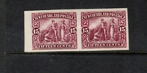 Newfoundland #114a Extra fine Mint Imperf Pair Unused (No Gum) As Issued