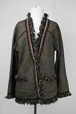 ETRO Milano Brown and Black Herringbone Fringe Cardigan Jacket Size 42
