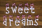 Girls Room Wall Decor 'sweet dreams' Pink/White Gingham Letters with Pink Bows