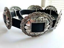 1993 BRIGHTON Silver Sunflower Concho Black Leather BELT Size: M Vintage