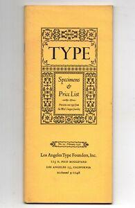 LOS ANGELES TYPE FOUNDERS catalog 14 printing press HTF printer typographer 1956
