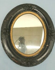 "ANTIQUE OVAL FRAME & MIRROR BLACK w/ GOLD 14"" x 12"""