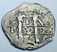 1686 Spanish Silver 1 Real Cob Piece of 8 Real Colonial Pirate Treasure Coin