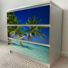 IKEA 3 DRAWERS MALM Paradise Beach Removable Textile Sticker for furniture
