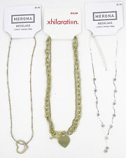 Lot Of 3 New Heart Pendant Rhinestone Style Necklaces NWT #N2217-95-96