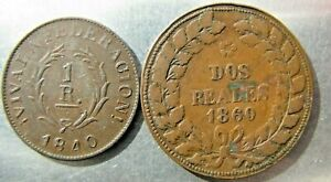Argentina pair: 1 Real 1840 and 2 Reales 1860
