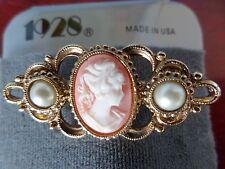 Vintage Style 1928 Cameo Pearl Goldtone Filigree Pin Brooch