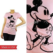 CUTE Disney Flock Print Cute Classic Mickey Mouse Face Pink T Shirt Slim Top USA