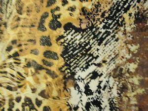 BIG CAT LEOPARD PANTHER SNAKESKIN 3 COLORS COTTON FABRIC 2 IN SCRAP CUT