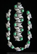 Green Stones Necklace & Bracelet Set Vintage Signed Mexican Sterling Silver &