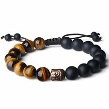 10mm Natural Tiger Eye and Matte Onyx Buddhist Prayer Bead Bracelet Adjustable S