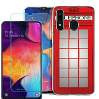 For Samsung Galaxy A20 / A50 TPU Case + Tempered Glass - Phone Booth Red