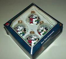 "Disney Mickey & Minnie Mouse 4 Glass Ornaments in Box by Krebs 2 1/4"" in dia.EUC"