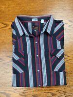 Vintage 90s Plains Black Striped Pearl Snap Shirt Sz 3XL Men's Big Man Western