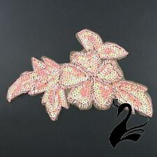 Motif Sequin & Beaded Large Flower w Leaves Applique - Coral Pink - Craft Millin