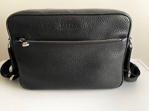 Genuine Bally black leather messenger bag