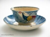 Antique Staffordshire Pottery Blue Spatterware Peafowl Tea Cup & Plate / Saucer
