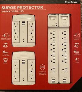 SURGE Protector 4 pack with USB CYBER POWER SWIVEL WALL TAP 15A