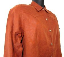 Bit & Bridle Women's Shirt M Western Snap Paisley Horse Head Design Faux Suede