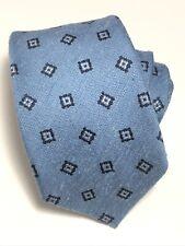 Ermenegildo Zegna Mens Textured Mini Medallion 100% Silk Tie Italy Blue $195