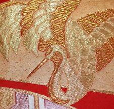 "Vintage Japanese Kimono Wedding Obi Fabric Crane Metallic 34"" FREE SHIPPING"