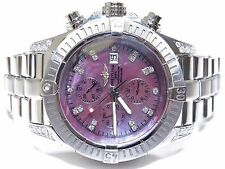 Breitling Super Avenger A13370 Custom Diamonds Steel Automatic Men's Watch