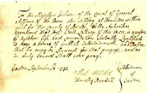 1773 Col Am Doc>SETH LATHROP TAUNTON APPROBATED TO KEEP HOUSE OF ENTERTAINMENT