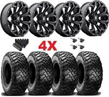 20 Fuel Assault Black Wheels Rims 35 12.50 20 Mt Tires Tundra Ram Sequoia Xd