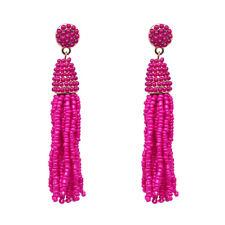 Boucles d'Oreilles Mini Perle Pompon Tassel Fait Main Artisanal Rose Vif AA21