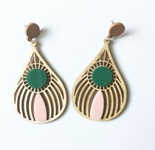 Multicolor Wood dangle earrings Fashion Ethnic Jewelry Abstract Statement