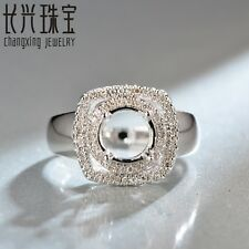 8mm Round Cut 14kt Gold Pave 0.30ct H SI Diamond Engagement Setting Ring Halo