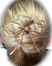 Bow Hair Barrette Copper Bun Holder Long Hair Slide Rose Gold Hair Stick