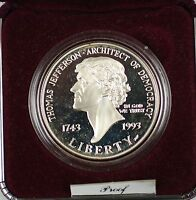 1993 Thomas Jefferson 250th Anniv. Commem Silver Proof Dollar Coin NO BOX NO COA