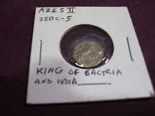 Azes II King of Bactriaand INDIA Silver Drachm 35 BC-5 AD Ancient Coin
